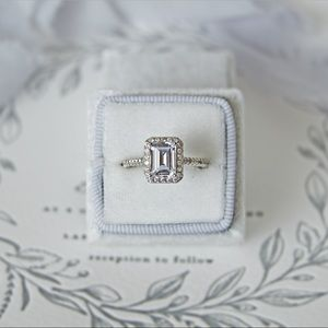 Grace: Emerald Cut Halo Engagement Ring
